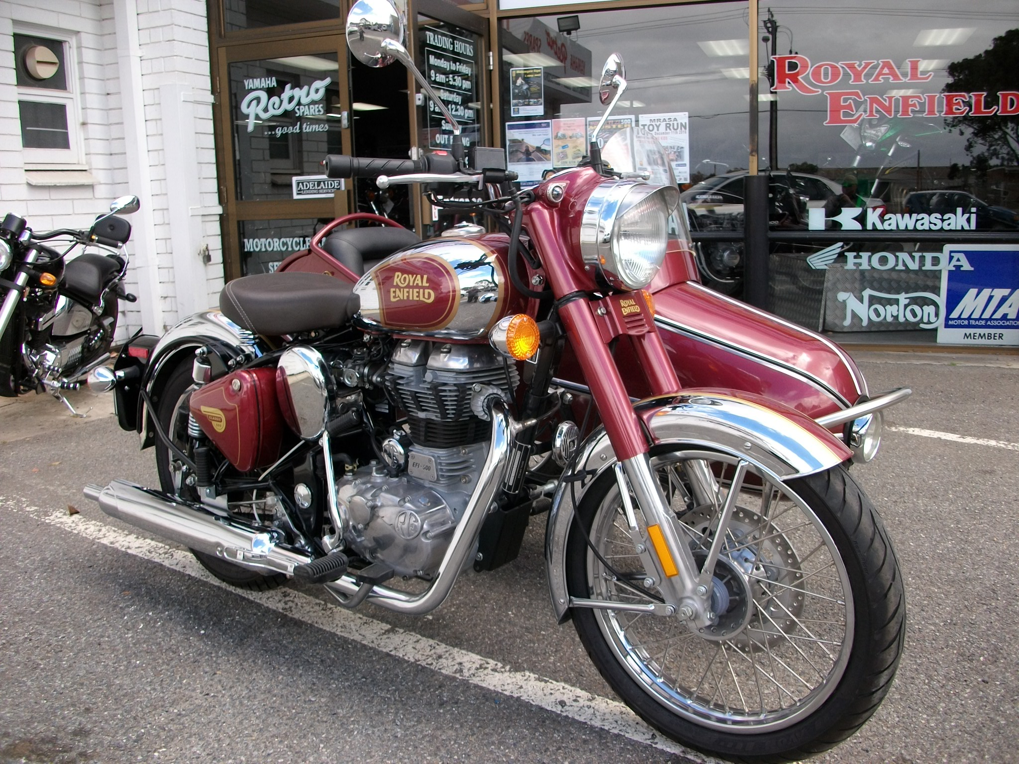 Royal Enfield C5 Maroon Chrome With Matching Sidecar Sold